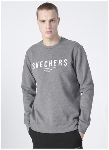 Skechers Skechers Erkek Düz Gri Sweatshirt Gri